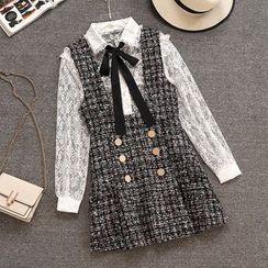 Yanja - Set: Long-Sleeve Lace Top + Mini Tweed Pinafore Dress