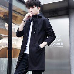 Bay Go Mall - Plain Hooded Zip-Up Jacket
