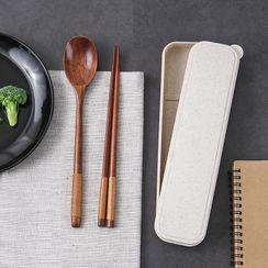 Cutie Pie - 套装: 木制筷子 + 勺子 + 餐具盒