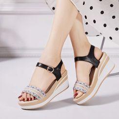 Wello - Platform Wedge Ankle Strap Sandals