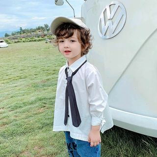 Pinty - Kids Long-Sleeve Plain Shirt with Tie