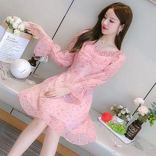 Petit Lace - Long-Sleeve Drawstring Chiffon Dress