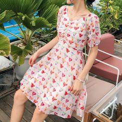 Gypsy Patsy - Printed Short-Sleeve A-Line Dress