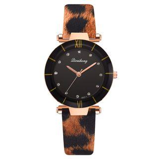 GAIETY - Roman Numeral Leopard Print Strap Watch