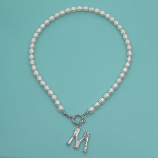 Gemsha - Letter Pendant Freshwater Pearl Necklace
