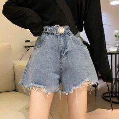 Laeron - Ripped Denim Shorts