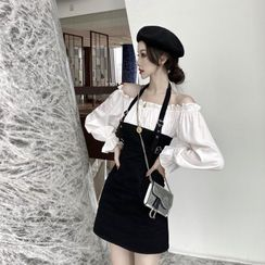 Breefriend - Mock Two-Piece Cold-Shoulder Mini A-Line Dress