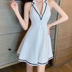 Kevina - Sleeveless Collared A-Line Dress