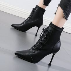 Anran - Pointy-Toe High-Heel Lace-Up Short Boots
