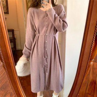 VICKIE - Long-Sleeve Knit Midi Dress