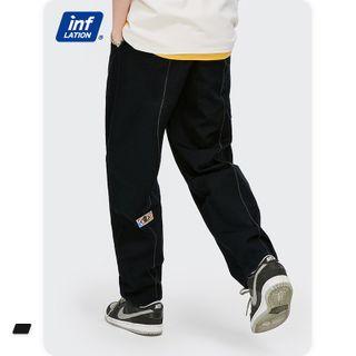 Newin(ニューイン) - Contrast-Stitch Straight-Cut Woven Pants