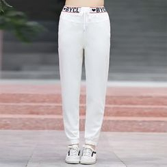 YICON - Lettering Drawstring Pants