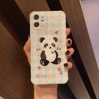 Huella - Panda-Embroidered Cartoon Phone Case For iPhone SE / 7 / 7 Plus / 8 / 8 Plus / X / XS / XR / XS Max / 11 / 11 Pro / 12 Mini / 12 / 12 Pro / 12 Pro Max