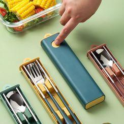 Kawa Simaya - Set :  Stainless Steel Chopsticks + Spoon + Fork + Case