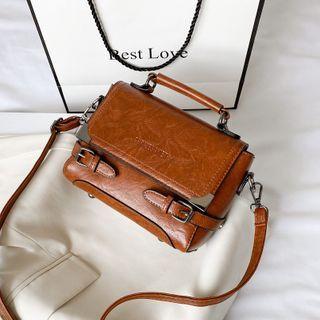 Fianna(フィアナ) - Faux Leather Crossbody Satchel Bag