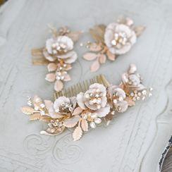 Vivian Design - Rhinestone Flower Hair Comb