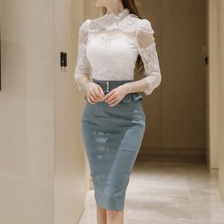 Aurora - Set: 3/4-Sleeve Lace Top + Pencil Skirt