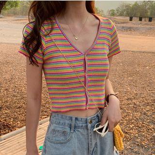 monroll - V-Neck Striped Cropped Short-Sleeve T-Shirt
