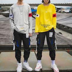 Besto - Couple Matching Set: Lettering Pullover + Harem Pants