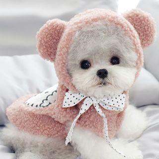 Bixin - Cartoon Applique Chenille Bear Ear Hooded Pet Top