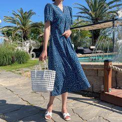 CANMART - Pattern Long Wrap Dress