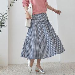 Seoul Fashion - Band-Waist Gingham Tiered Skirt