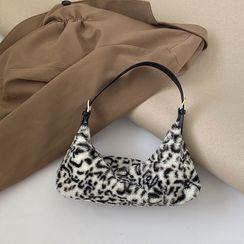 NiniChloe - 毛毛豹纹印花手提包