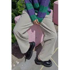 SIMPLY MOOD - Drawstring Corduroy Pants