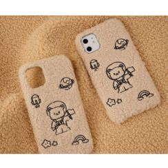 Filant - Fluffy Cartoon Embroidered iPhone Case - 7 / 7 Plus / 8 / 8 Plus / X / XS / XS Max / XR / 11 / 11 Pro / 11 Pro Max