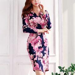 Cassidy(キャシディ) - Floral Print Long-Sleeve Sheath Dress