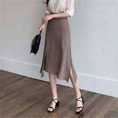 Styleberry - Slit-Hem A-Line Skirt