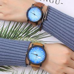 Biccup - 螢光印花仿皮帶式手錶