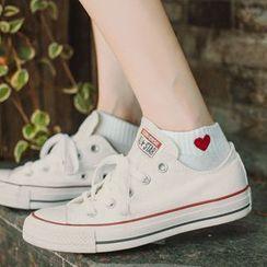 Guliga - Heart Embroidered Low Socks