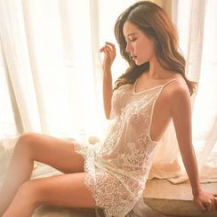 Colorful Days - Lingerie Set: Lace Nightdress + Thong