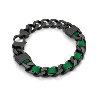 Kenny & co. - 綠色皮革螺絲扣黑鋼手鏈