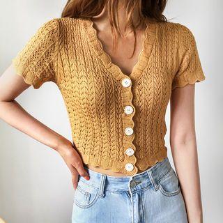 Envy Look - Short-Sleeve Pointelle-Knit Cardigan