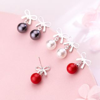 A'ROCH(エーロック) - 925 Sterling Silver Bow & Faux Pearl Earring