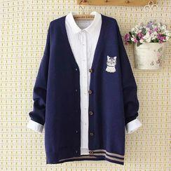 Aigan - V領貓刺繡開衫