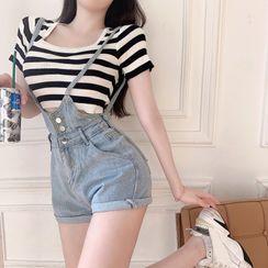 ever after - Striped Crop T-Shirt / Skinny Denim Jumper Shorts