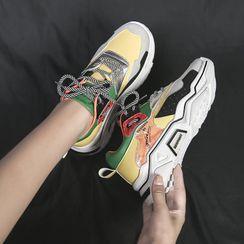 Yuche - Contrast Detail Platform Sneakers
