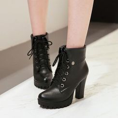Megan - Chunky-Heel Lace-Up Ankle Boots