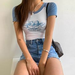 LIPHOP - Angle-Printed Slim-Fit Raglan T-Shirt