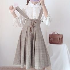 Hasna(ハスナ) - Lace Blouse / Plaid High Waist Suspender Skirt
