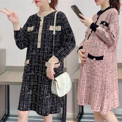 Owaho - 孕婦格子毛衣裙