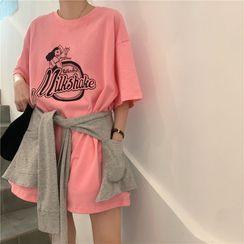 KARLY - Printed Over sized T-Shirt / Plain Shawl