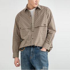 Orizzon(オリッゾン) - Long-Sleeve Plaid Shirt