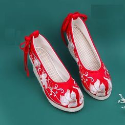 July Lotus - Embroidered Flower Canvas Hidden Wedge Slip Ons