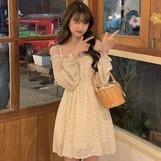 WIKPROM - Cold Shoulder Floral Long-Sleeve A-line Dress