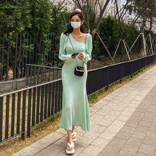 LIPHOP - Set: Bolero + Asymmetric-Neck Sleeveless Maxi Dress