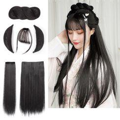 Goldme - Retro Hair Fringe / Hair Bun / Hair Extension / Set
